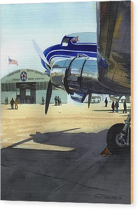 Wood Print featuring the painting Under The Plane's Wing by Sergey Zhiboedov