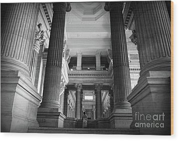 Wood Print featuring the photograph Under The Scaffolding Of The Palace Of Justice - Brussels by RicardMN Photography