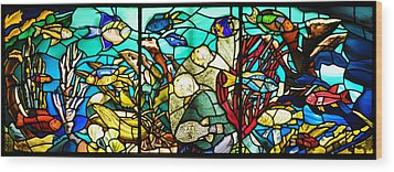 Under The Sea - Stained Glass Wood Print by Bill Cannon