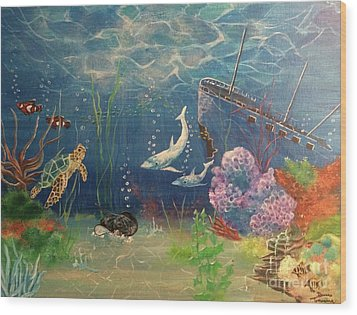Wood Print featuring the painting Under The Sea by Denise Tomasura