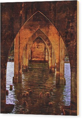 Wood Print featuring the photograph Under The Siuslaw River Bridge by Thom Zehrfeld