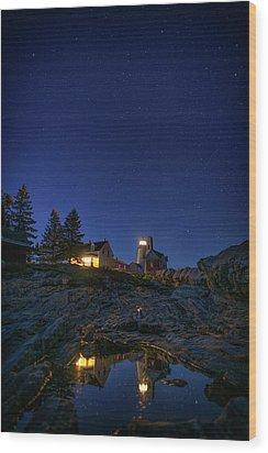 Under The Stars At Pemaquid Point Wood Print by Rick Berk