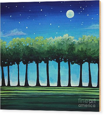 Under The Stars Wood Print by Elizabeth Robinette Tyndall