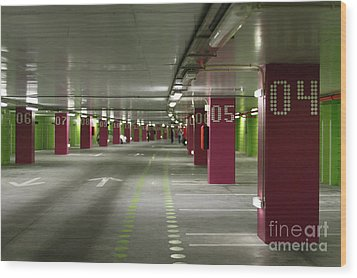 Underground Parking Lot Wood Print by Gaspar Avila