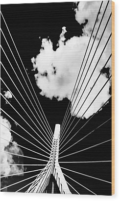 Underneath The Zakim Wood Print by Andrew Kubica