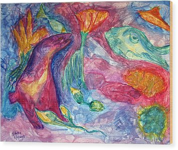 Undersea Fantasy Wood Print by Arlene Holtz