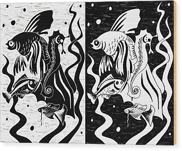 Underwater Fish Wood Print by Svetlana Sewell