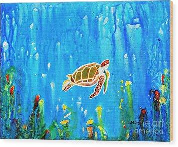 Underwater Magic 5-happy Turtle Wood Print