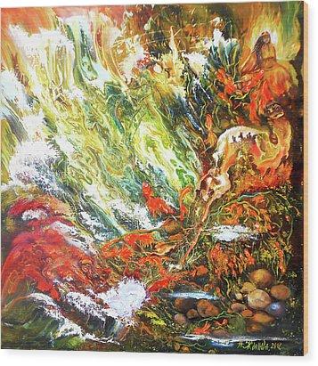 Underwater Odyssey In Abstract/simbolism Style  Wood Print by Natalya Zhdanova