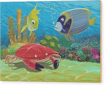 Underwater Sea Friends Wood Print by Martin Davey