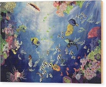 Underwater World II Wood Print by Odile Kidd