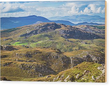 Undulating Landscape In Kerry In Ireland Wood Print by Semmick Photo