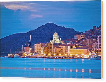 Unesco Town Of Sibenik Blue Hour View Wood Print by Brch Photography