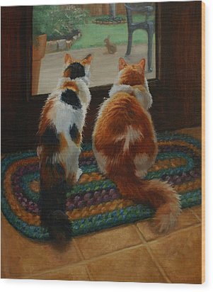 Unexpected Guest Wood Print by Vicky Gooch