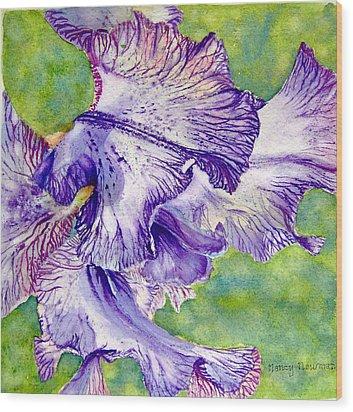 Unfolding-iris Wood Print by Nancy Newman