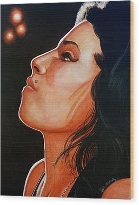 Wood Print featuring the painting Unforgettable Amy by Al  Molina