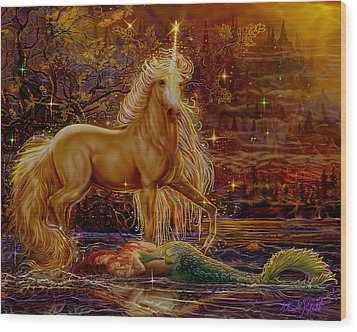 Wood Print featuring the painting Unicorn And The Mermaid Mother by Steve Roberts