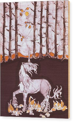 Unicorn Below Trees In Autumn Wood Print by Carol  Law Conklin