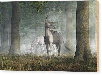 Wood Print featuring the digital art Unicorn by Daniel Eskridge