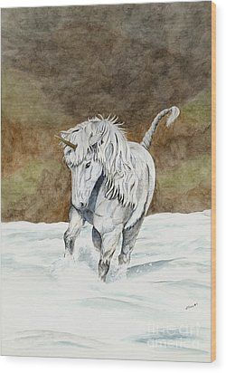 Unicorn Icelandic Wood Print by Shari Nees