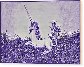 Unicorn In Purple Wood Print