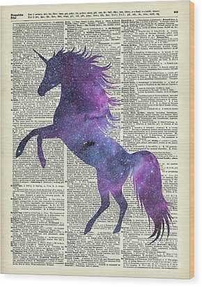 Unicorn In Space Wood Print by Jacob Kuch
