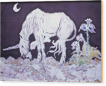Unicorn Pauses Wood Print by Carol  Law Conklin