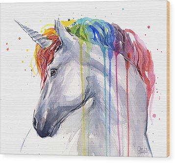Unicorn Rainbow Watercolor Wood Print by Olga Shvartsur