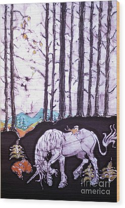 Unicorn Rests In The Forest With Fox And Bird Wood Print by Carol Law Conklin