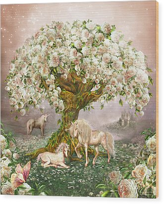 Wood Print featuring the mixed media Unicorn Rose Tree by Carol Cavalaris
