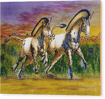 Unicorns In Sunset Wood Print by Melissa A Benson