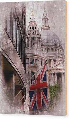 Union Jack By St. Paul's Cathdedral Wood Print by Karen McKenzie McAdoo