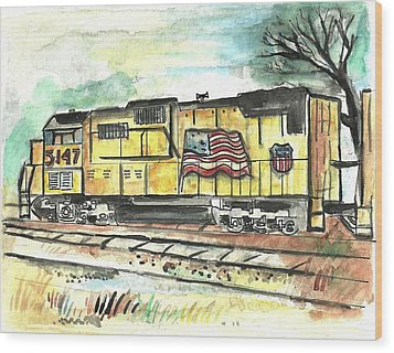 Union Pacific Engine Wood Print by Matt Gaudian