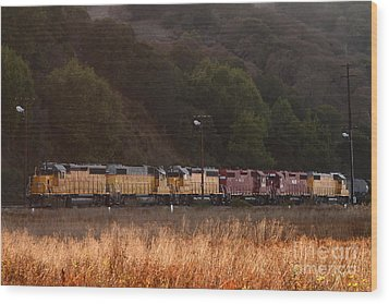 Union Pacific Locomotive Trains . 7d10551 Wood Print by Wingsdomain Art and Photography