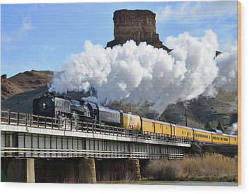 Union Pacific Steam Engine 844 And Castle Rock Wood Print by Eric Nielsen