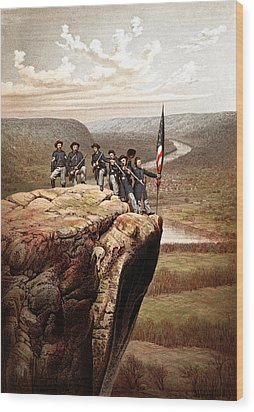 Union Soldiers On Lookout Mountain Wood Print by War Is Hell Store
