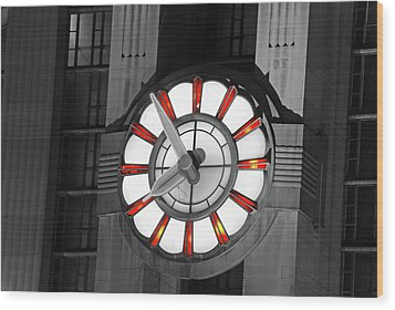 Union Terminal Clock Wood Print by Russell Todd