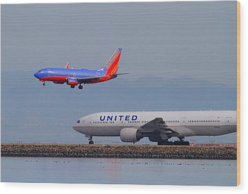 United Airlines And Southwest Airlines Jet Airplane At San Francisco International Airport Sfo.12087 Wood Print by Wingsdomain Art and Photography