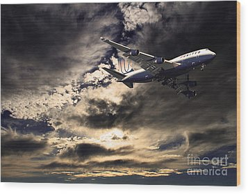 United Airlines . Flying The Friendly Skies Wood Print by Wingsdomain Art and Photography