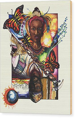 Wood Print featuring the drawing United by Anthony Burks Sr