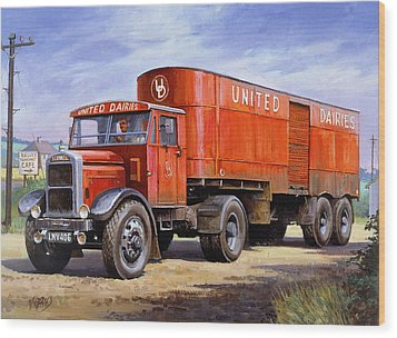 United Dairies Scammell. Wood Print by Mike  Jeffries