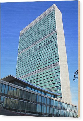 Wood Print featuring the photograph United Nations 1 by Randall Weidner