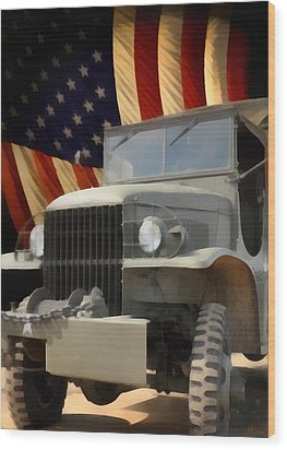 United States Army Truck And American Flag  Wood Print by Anne Kitzman