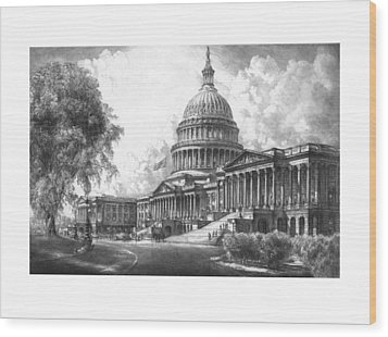 United States Capitol Building Wood Print by War Is Hell Store