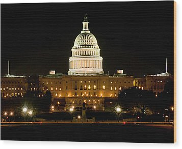 United States Capitol Grounds At Night Wood Print