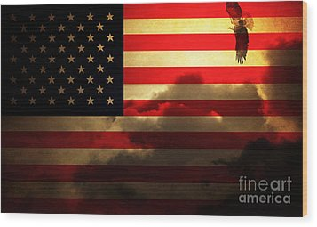 United States Of America . Land Of The Free Wood Print by Wingsdomain Art and Photography