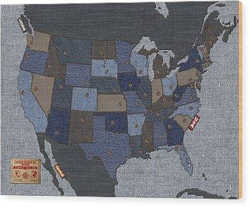 United States Of Denim Wood Print by Michael Tompsett