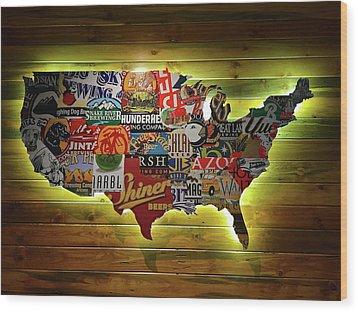 United States Wall Art Wood Print