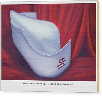 Wood Print featuring the painting University Of Alabama School Of Nursing by Marlyn Boyd