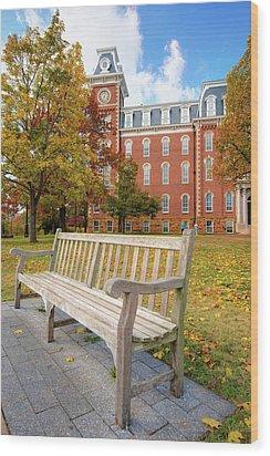 University Of Arkansas Campus In Fall - Old Main Building Wood Print
